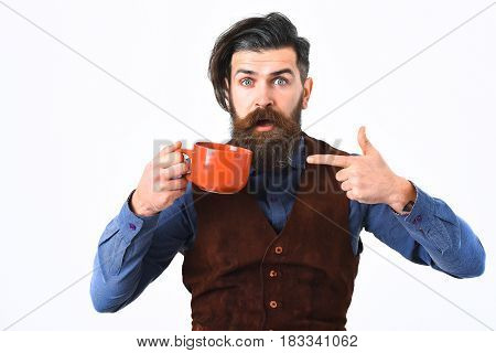 Bearded Man Holding Cup With Coffee, Tea With Surprised Face