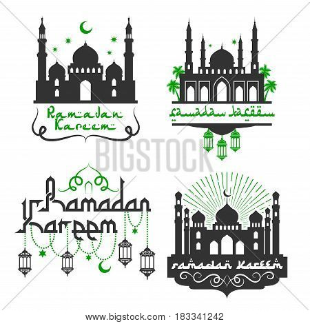 Ramadan Kareem greetings for Muslim religious holiday celebration. Vector icons set with mosque minarets, lantern lights ornament, crescent moon and star in sky with Arabic calligraphy