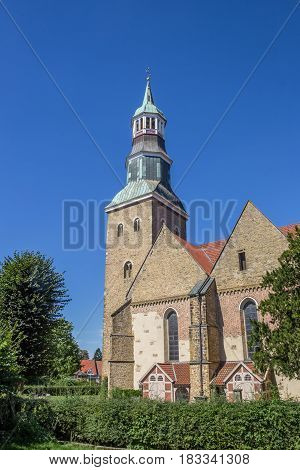QUACKENBRUCK, GERMANY - AUGUST 25, 2016: St. Sylvester church in the historical center of Quakenbruck, Germany