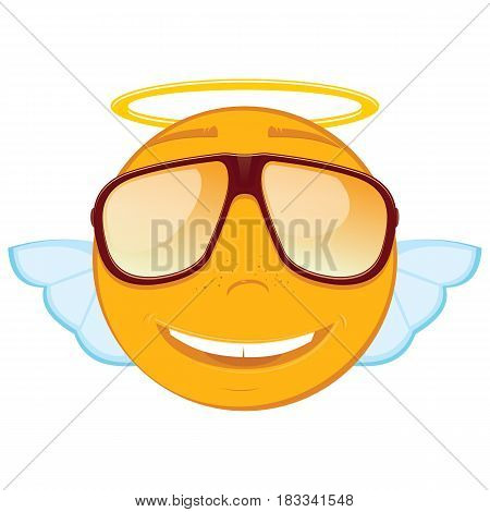 Cute angel emoticon in a sunglasses on white background. Vector illustration.