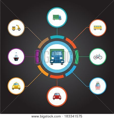 Flat Cab, Lorry, Automobile And Other Vector Elements. Set Of Machine Flat Symbols Also Includes Tram, Streetcar, Boat Objects.