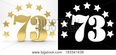 Golden number seventy three on white background with drop shadow and alpha channel decorated with a circle of stars. 3D illustration
