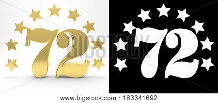 Golden number seventy two on white background with drop shadow and alpha channel decorated with a circle of stars. 3D illustration