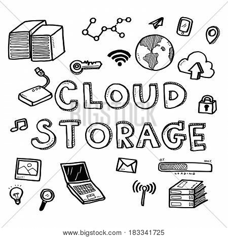 Hand Draw Business Doodles Cloud Storage Icons And Words Set On White Background.concept For Busines