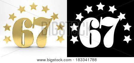 Golden number sixty seven on white background with drop shadow and alpha channel decorated with a circle of stars. 3D illustration