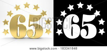 Golden number sixty five on white background with drop shadow and alpha channel decorated with a circle of stars. 3D illustration