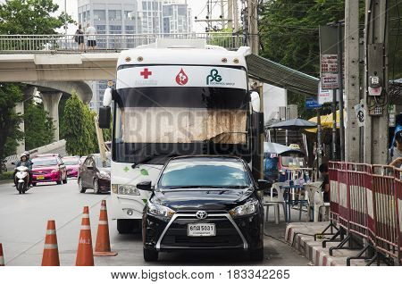 Donation Blood Bus Wait For People Come To Donating Their Blood At Car Park Beside Road At Chatuchak