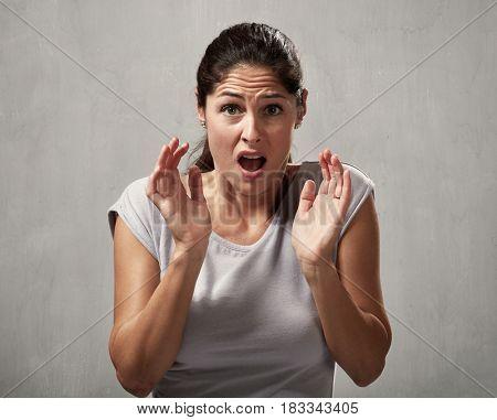 Scared afraid woman