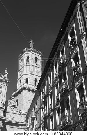 Valladolid (Castilla y Leon Spain): historic buildings with typical balconies and verandas and the cathedral. Black and white