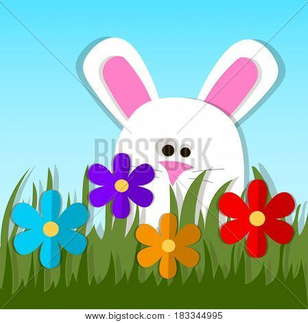 Very high quality original trendy vector illustration of paper Easter bunny or rabbit looking out a green grass with paper flowers