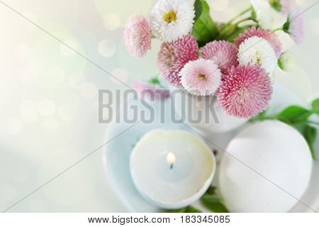 Easter Holiday Card With Daisies In Eggcup