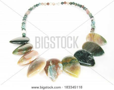 multicolored beads jasper mineral isolated on white background