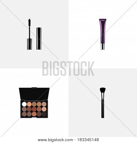 Realistic Multicolored Palette, Eyelashes Ink, Fashion Equipment And Other Vector Elements. Set Of Cosmetics Realistic Symbols Also Includes Palette, Collagen, Brush Objects.