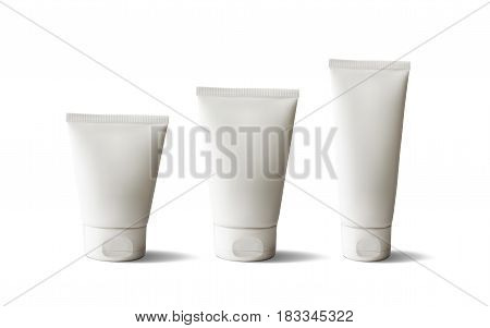 Package design cosmetic products. White realistic tube set. Vector illustration.