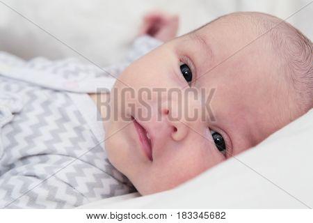 Newborn Baby Quiet Looking, Dark Eyes, Face Closeup