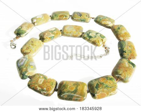 colored beads jasper isolated on white background