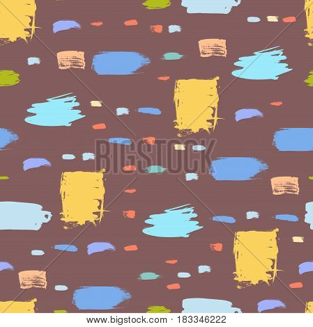 Abstract colorful vector background. Brush stroke seamless pattern.