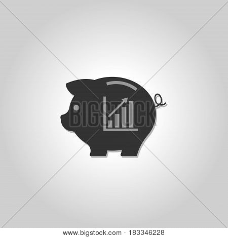 Piggy bank icon. Chart. Saving money. Vector illustration. Eps 10.