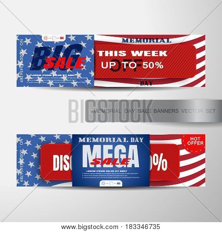 Vector set of Memorial Day big and mega sale banners with red paper stripe cut from paper red ribbon with text shadows on the background with american flag.