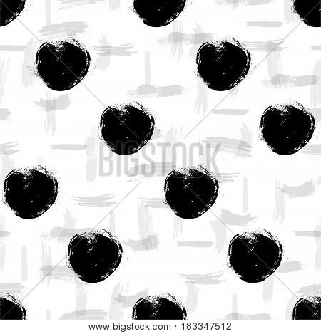 Vector seamless pattern. Black and white round brush strokes. Hand drawn circles. Abstract paint spots, polka dot