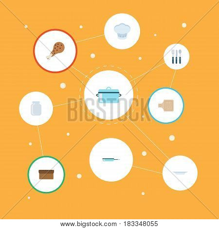 Flat Loaf, Chef Hat, Casserole And Other Vector Elements. Set Of Cooking Flat Symbols Also Includes Uniform, Knife, Frying Objects.