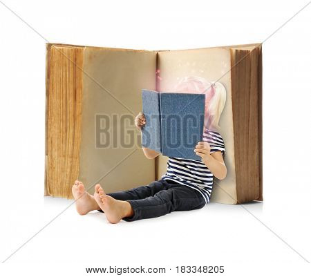 Adventure story and fairy tale. Little girl with books and magic glowing on white background