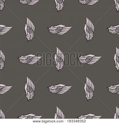 Feather Wings Seamless Pattern on Grey Background
