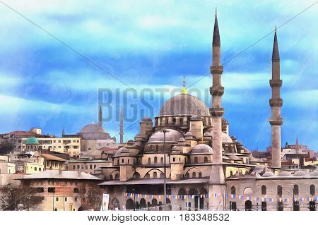 Colorful painting of New Mosque or Yeni Cami, Istanbul, Turkey
