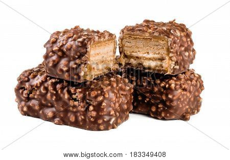 chocolate candy with nuts isolated on white background.
