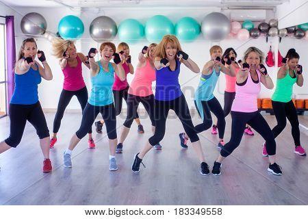 Women boxing exercise training workout