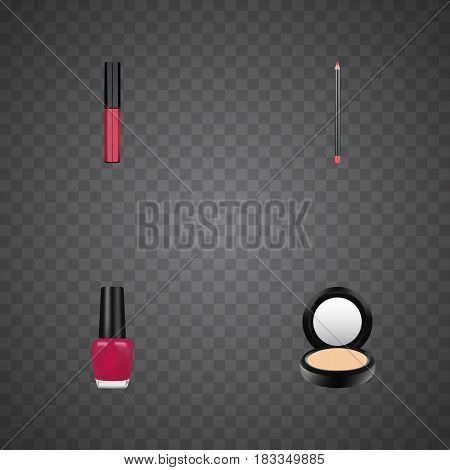 Realistic Varnish, Blusher, Mouth Pen And Other Vector Elements. Set Of Maquillage Realistic Symbols Also Includes Pomade, Liquid, Varnish Objects.