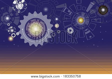 Technology digital telecoms and engineering gear wheel on circuit board with lighting Abstract futuristic background Vector illustration colorful. Hi-tech digital concept.