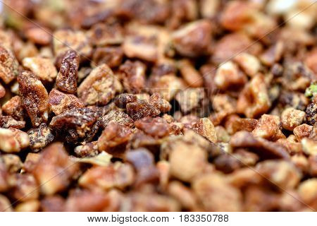 Food ingredients close up photography - crushed dried apples.