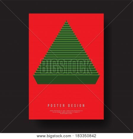 Abstract Geometric Christmas Tree Cover Design - Vector illustration template