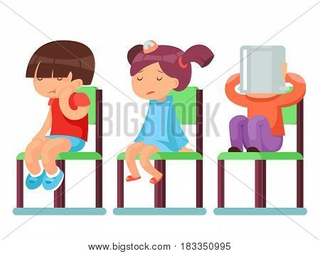 Medical care sick children sitting chairs cartoon characters isolated vector illustration