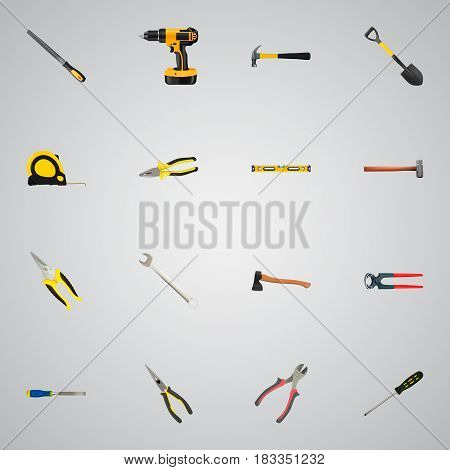 Realistic Scissors, Spade, Electric Screwdriver And Other Vector Elements. Set Of Instruments Realistic Symbols Also Includes Electric Screwdriver, Hammer, Key Objects.