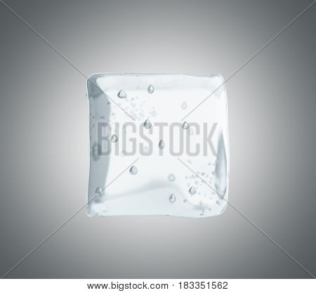 Ice Cube 3D Render On Grey Background