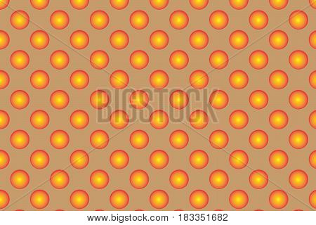 Pattern With Orange Spherical Dots. Golden Spherical Polka Dot Pattern. Orange Polka Dot On Braun Ba