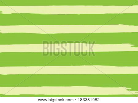 Rectangular green background with horizontal light lines. Striped backdrop. Painted by a rough brush. Grunge.