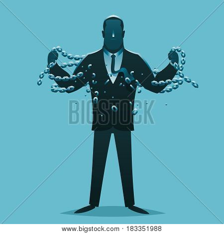 Businessman release breaking chains liberation cartoon design silhouette business concept vector illustration