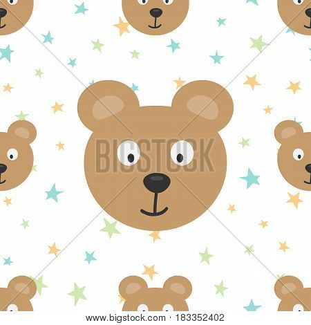 The heads of a funny bear and colored stars. Cartoon seamless pattern. Brown blue green orange. Vector illustration.