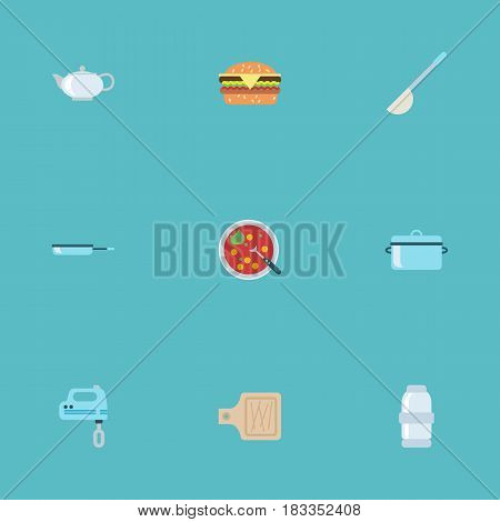 Flat Broth, Skillet, Casserole And Other Vector Elements. Set Of Food Flat Symbols Also Includes Frying, Saucepan, Blender Objects.