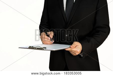 Businessman with clipping board on white background