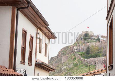 Ankara Castle, as seen from historical Hacibayram district - Ankara, Turkey