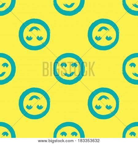 Round smileys. Seamless pattern drawn with rough strokes of the brush. Blue yellow. Grunge.