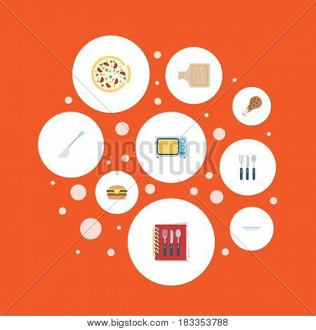 Flat Fried Poultry, Breadboard, Electric Stove And Other Vector Elements. Set Of Food Flat Symbols Also Includes Fast, Burger, Cooking Objects.