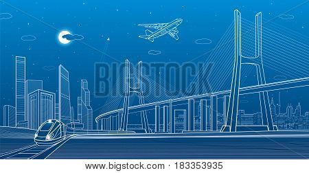 Large cable-stayed bridge, train move, night modern city on background, airplane fly, towers and skyskrapers, vector design art