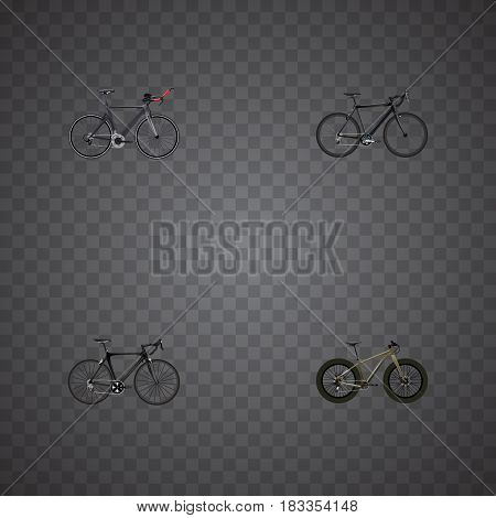 Realistic Cyclocross Drive, Bmx, Exercise Riding And Other Vector Elements. Set Of Lifestyle Realistic Symbols Also Includes Road, Bicycle, Triathlon Objects.