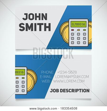 Business Card Print Template With Calculator And Coins Logo Accountant Financial Yst Stationery