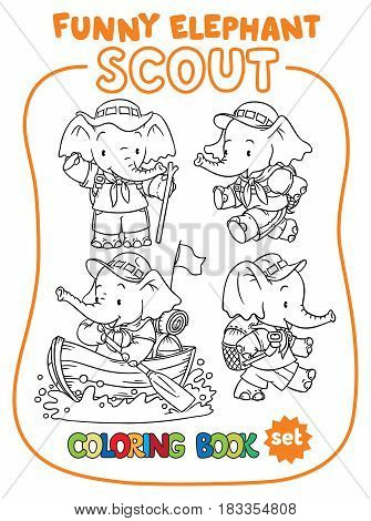 Scouting. Funny baby elephant scout adventure camping coloring book set. Children vector illustration of hiking recreation tourists characters